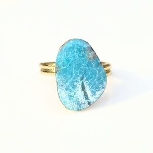 Genuine natural turquoise gold-plated ring